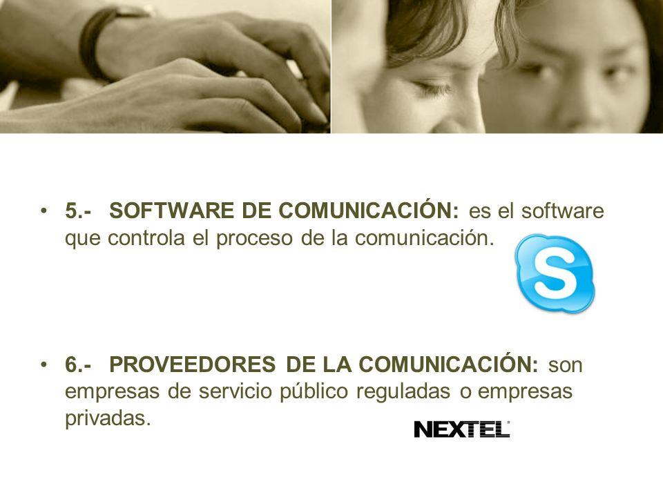 5.- SOFTWARE DE COMUNICACIÓN: es el software que controla el proceso de la comunicación.
