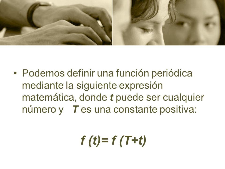 Podemos definir una función periódica mediante la siguiente expresión matemática, donde t puede ser cualquier número y T es una constante positiva: