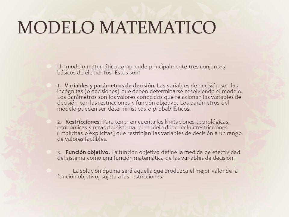 MODELO MATEMATICO Un modelo matemático comprende principalmente tres conjuntos básicos de elementos. Estos son: