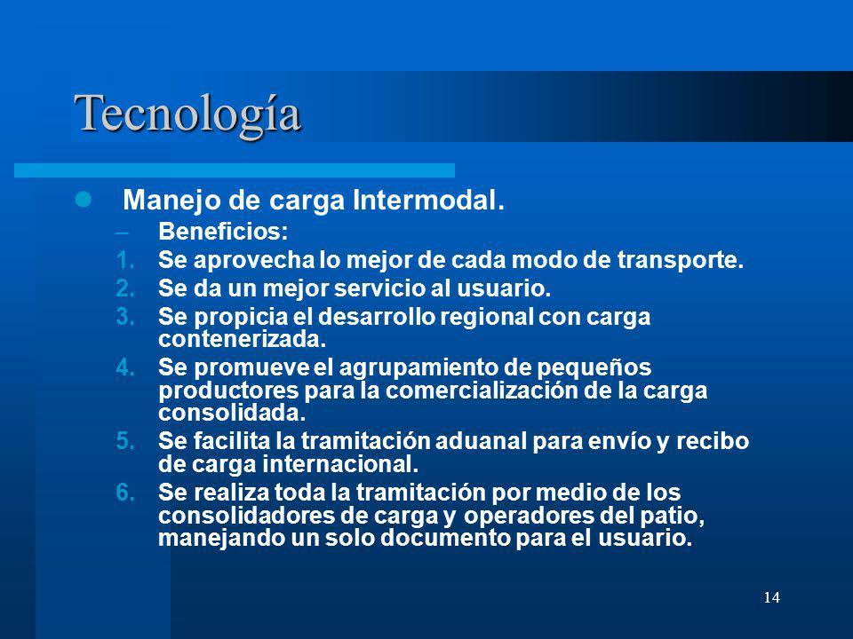 Tecnología Manejo de carga Intermodal. Beneficios: