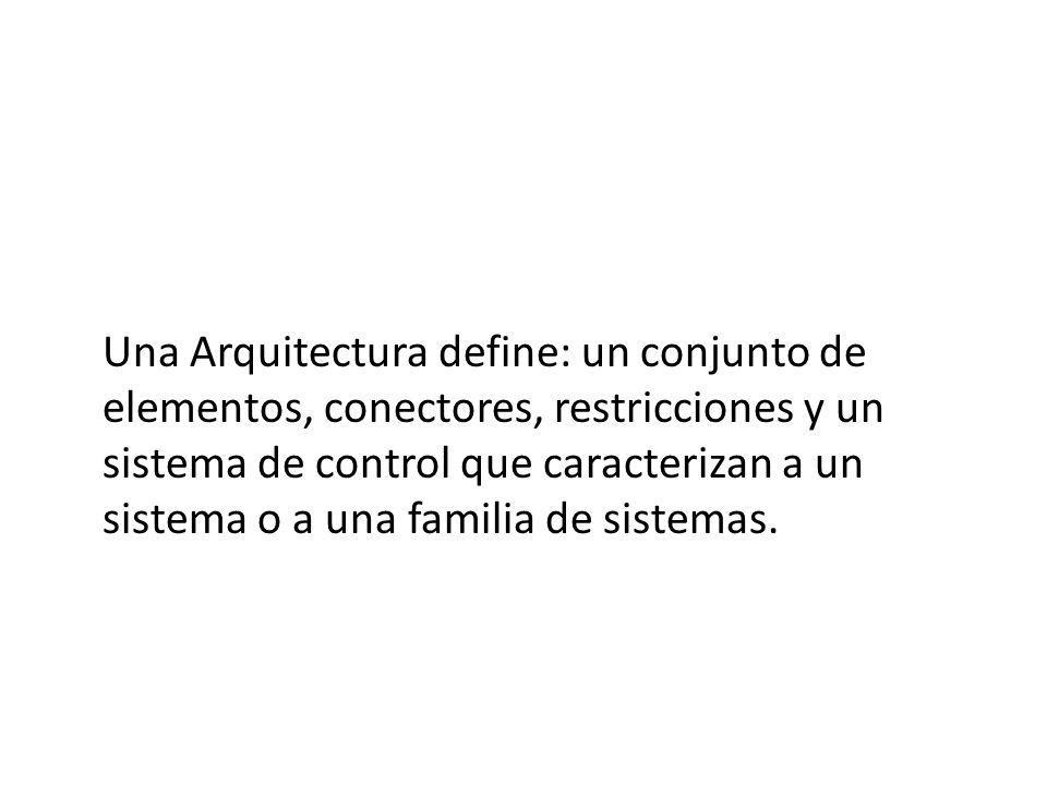 Una Arquitectura define: un conjunto de elementos, conectores, restricciones y un sistema de control que caracterizan a un sistema o a una familia de sistemas.