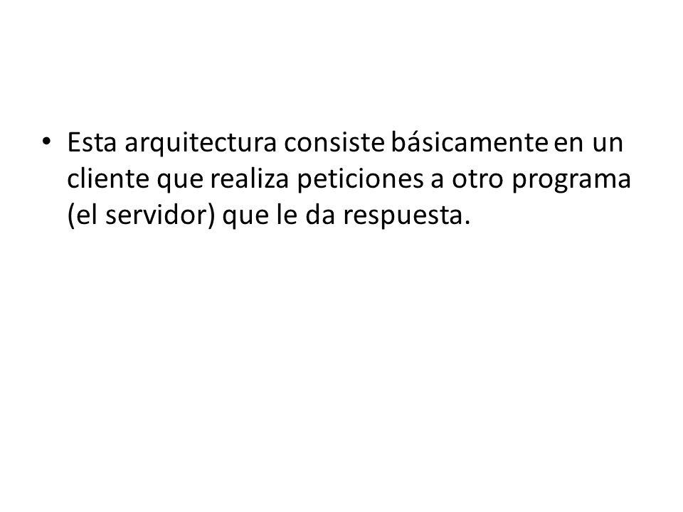 Esta arquitectura consiste básicamente en un cliente que realiza peticiones a otro programa (el servidor) que le da respuesta.