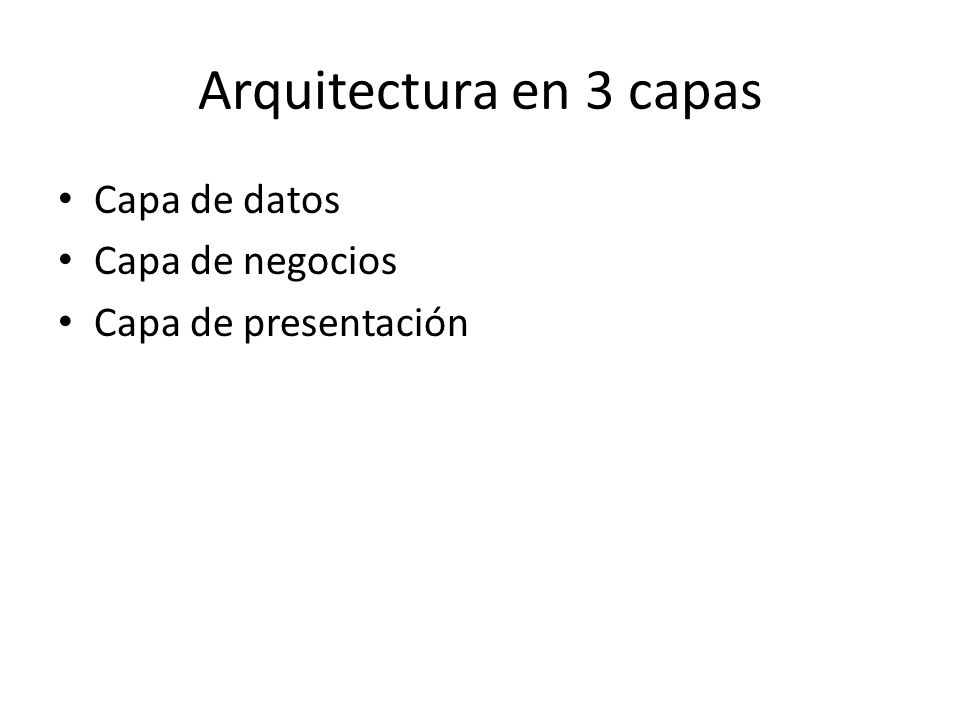 Arquitectura en 3 capas Capa de datos Capa de negocios