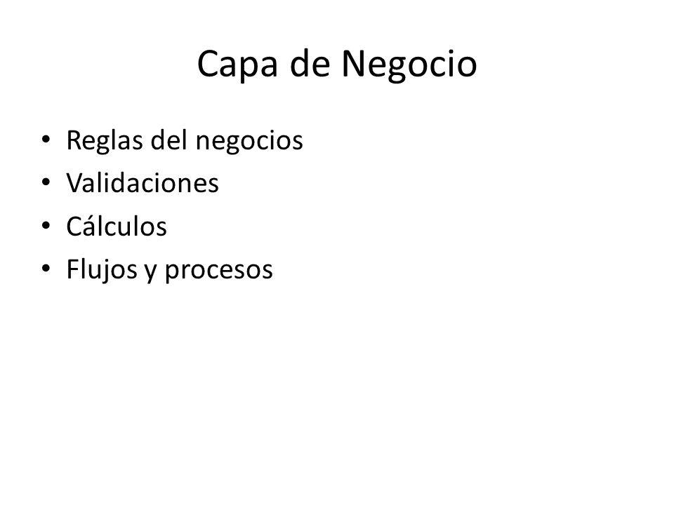 Capa de Negocio Reglas del negocios Validaciones Cálculos