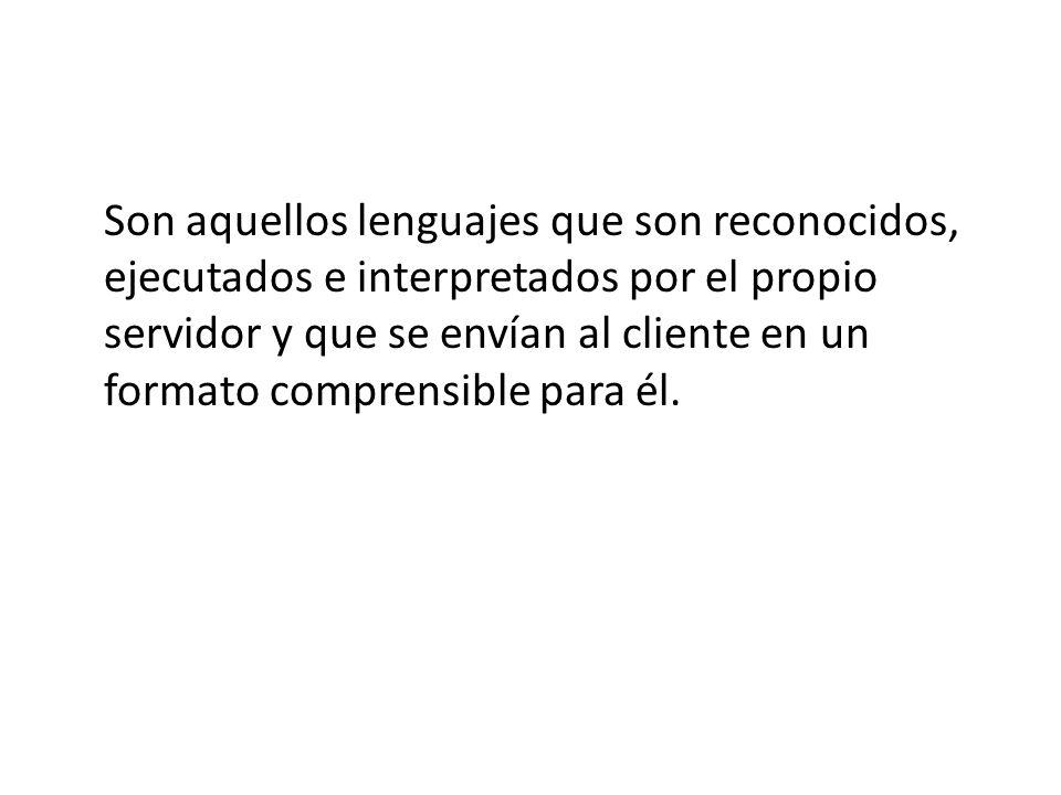 Son aquellos lenguajes que son reconocidos, ejecutados e interpretados por el propio servidor y que se envían al cliente en un formato comprensible para él.