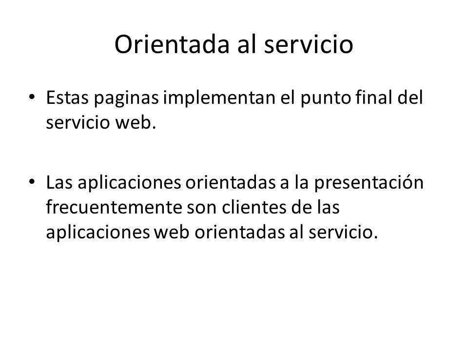 Orientada al servicio Estas paginas implementan el punto final del servicio web.