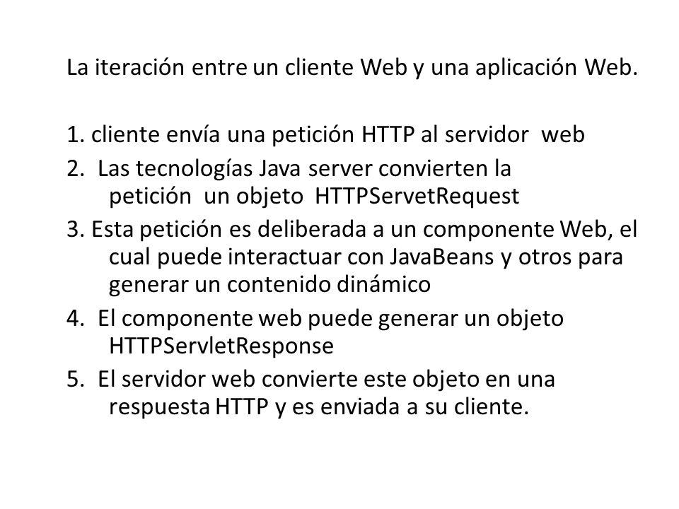La iteración entre un cliente Web y una aplicación Web. 1