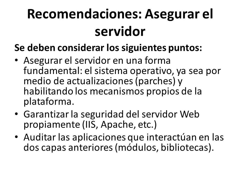 Recomendaciones: Asegurar el servidor
