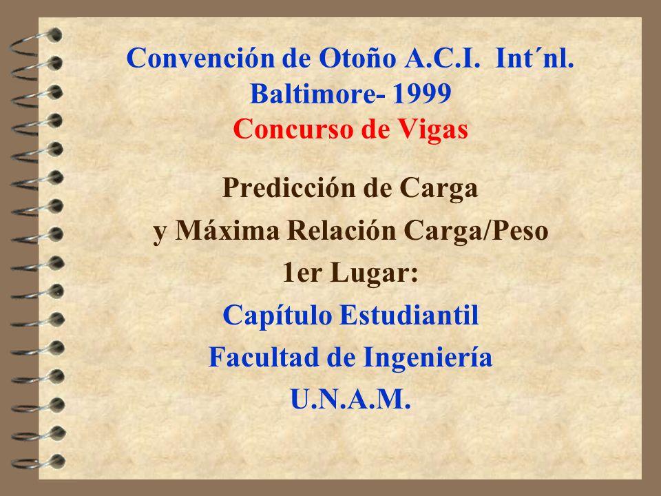 Convención de Otoño A.C.I. Int´nl. Baltimore- 1999 Concurso de Vigas