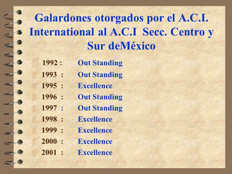 Galardones otorgados por el A. C. I. International al A. C. I Secc