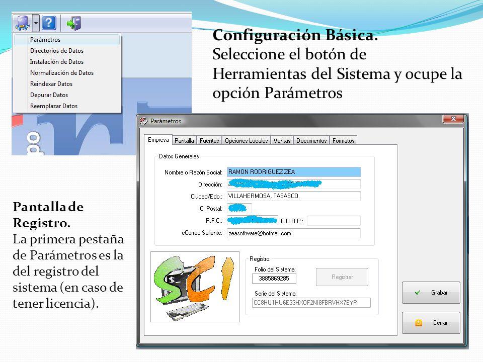 Configuración Básica. Seleccione el botón de Herramientas del Sistema y ocupe la opción Parámetros.