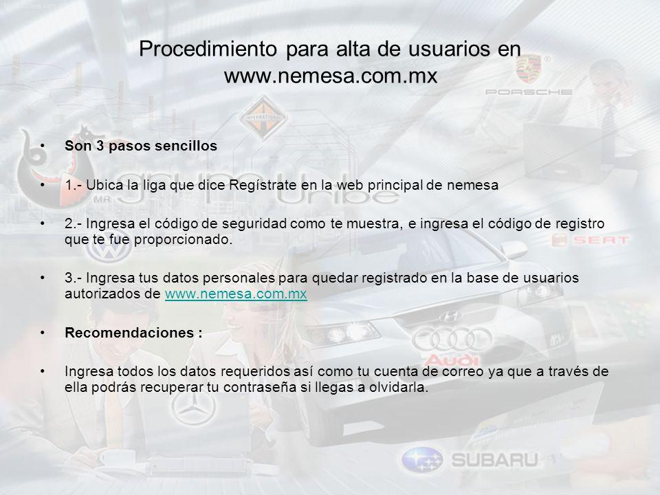 Procedimiento para alta de usuarios en www.nemesa.com.mx