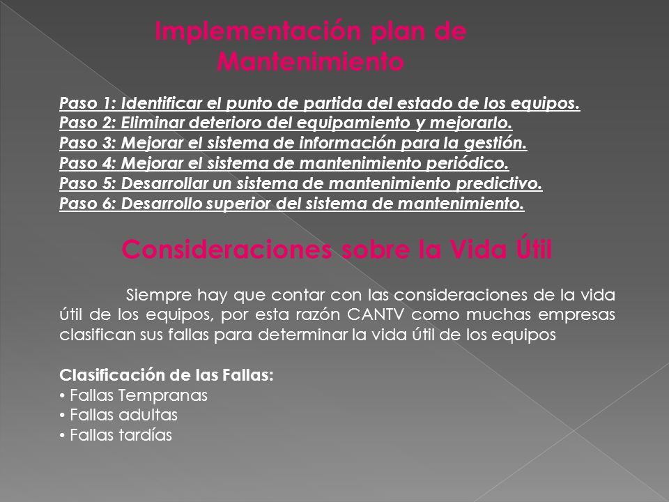 Implementación plan de Mantenimiento