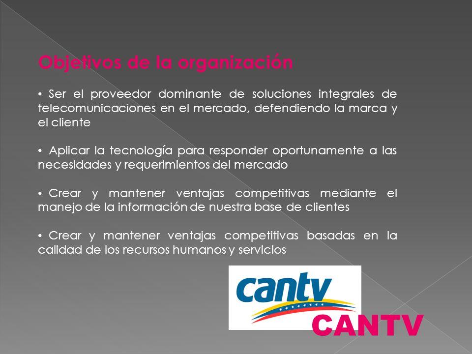 CANTV Objetivos de la organización