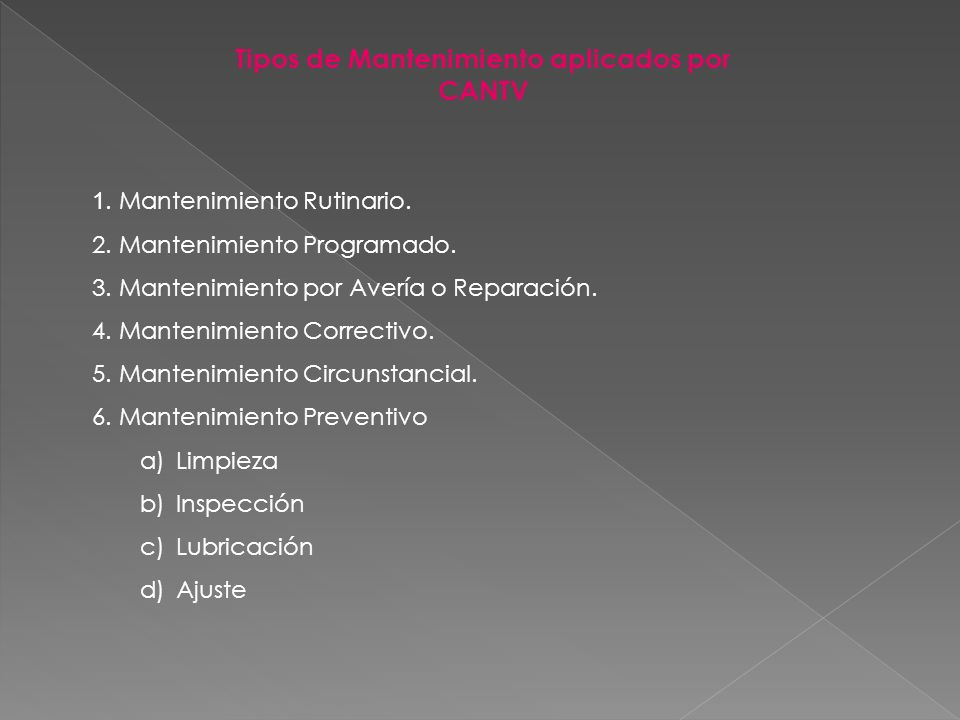 Tipos de Mantenimiento aplicados por CANTV