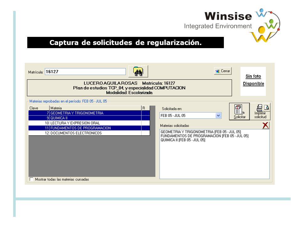 Captura de solicitudes de regularización.
