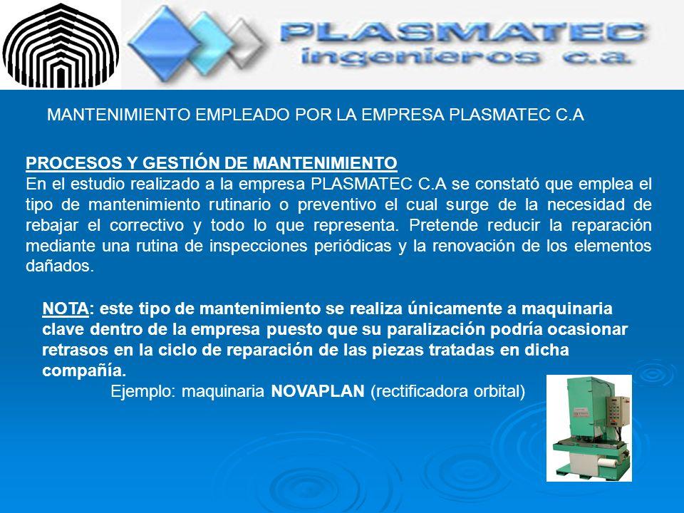 MANTENIMIENTO EMPLEADO POR LA EMPRESA PLASMATEC C.A