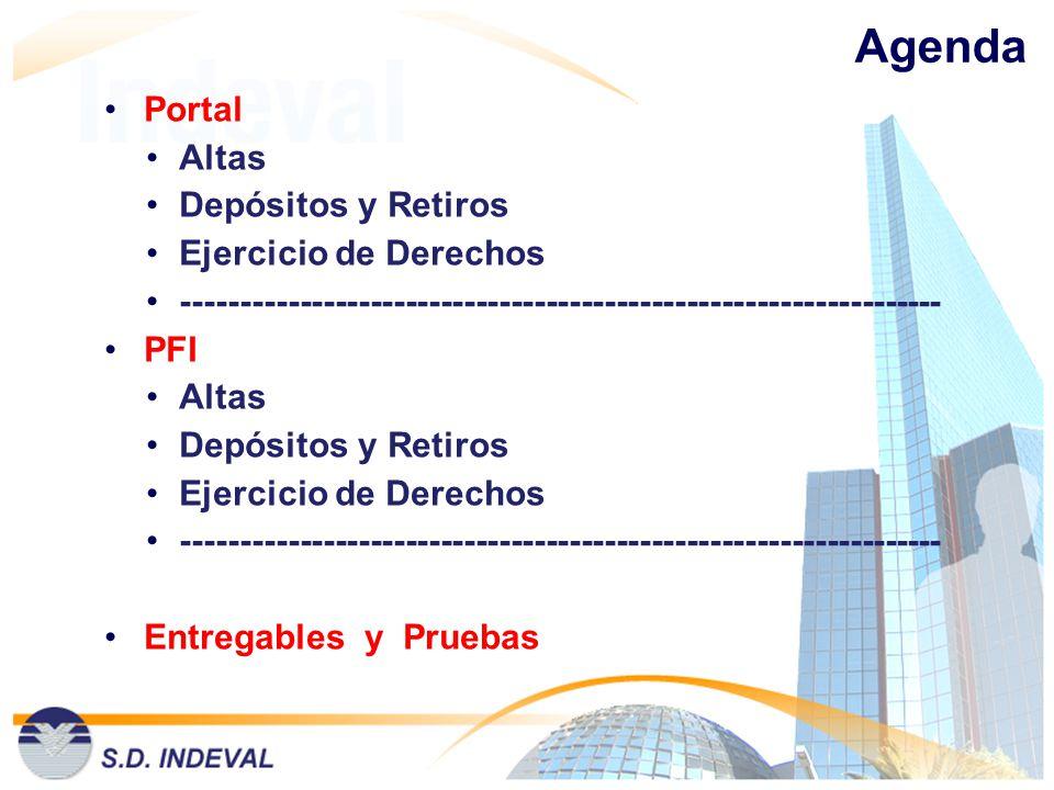 Agenda Portal Altas Depósitos y Retiros Ejercicio de Derechos