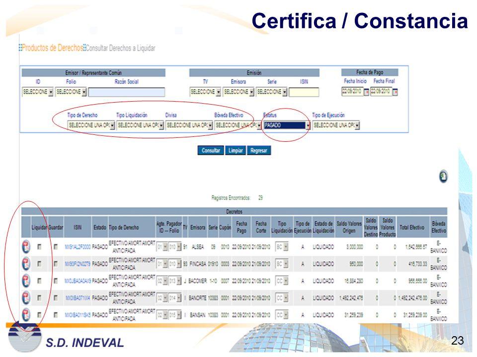Certifica / Constancia