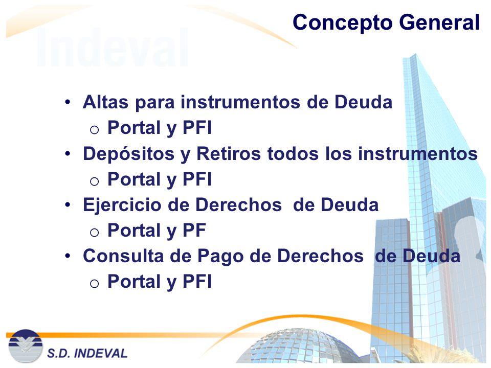 Concepto General Altas para instrumentos de Deuda Portal y PFI