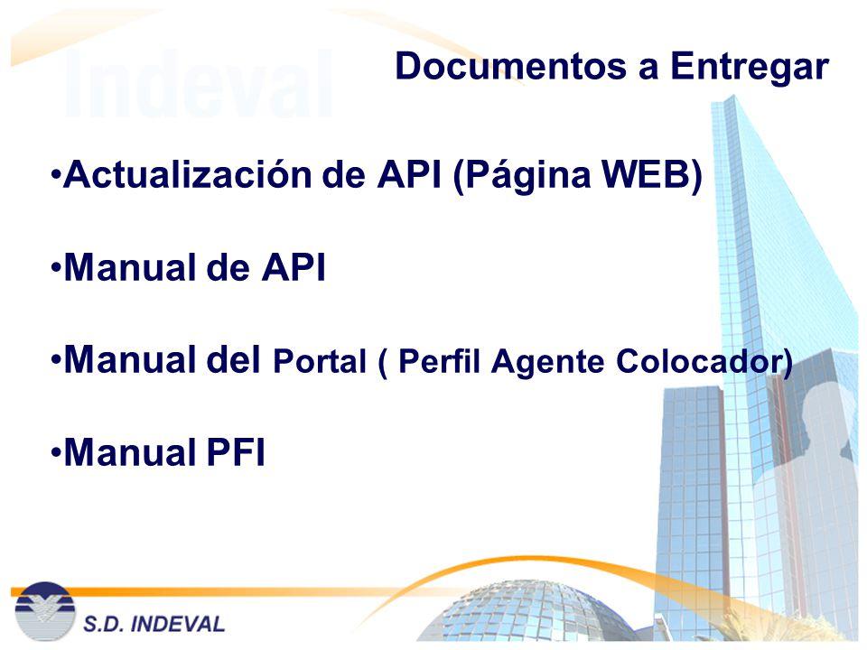 Documentos a Entregar Actualización de API (Página WEB) Manual de API. Manual del Portal ( Perfil Agente Colocador)