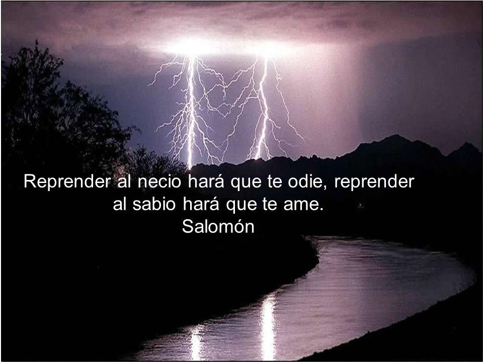 Reprender al necio hará que te odie, reprender al sabio hará que te ame. Salomón