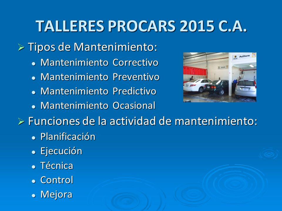 TALLERES PROCARS 2015 C.A. Tipos de Mantenimiento: