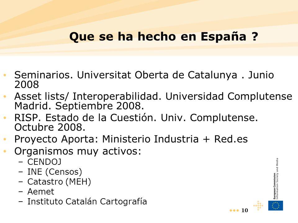Que se ha hecho en España