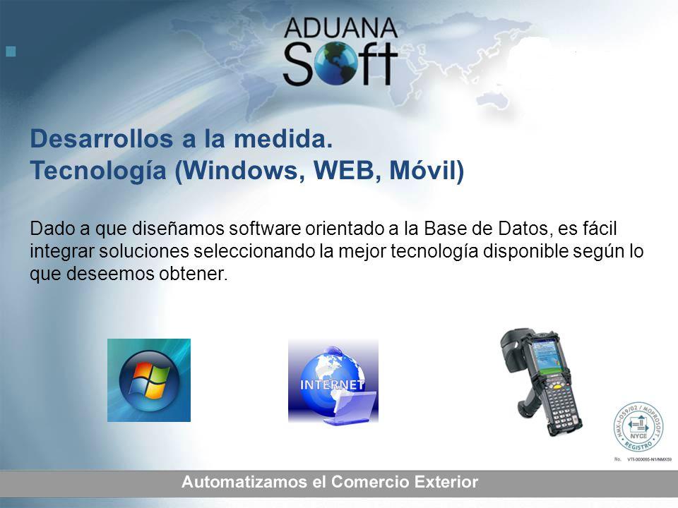 Desarrollos a la medida. Tecnología (Windows, WEB, Móvil)