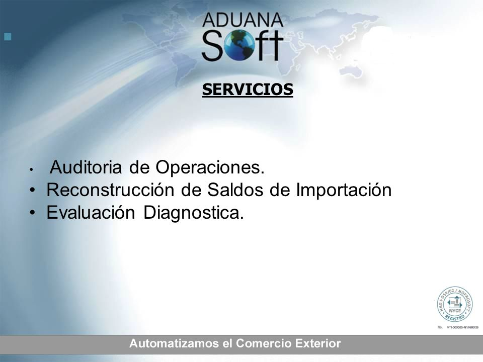 Reconstrucción de Saldos de Importación Evaluación Diagnostica.