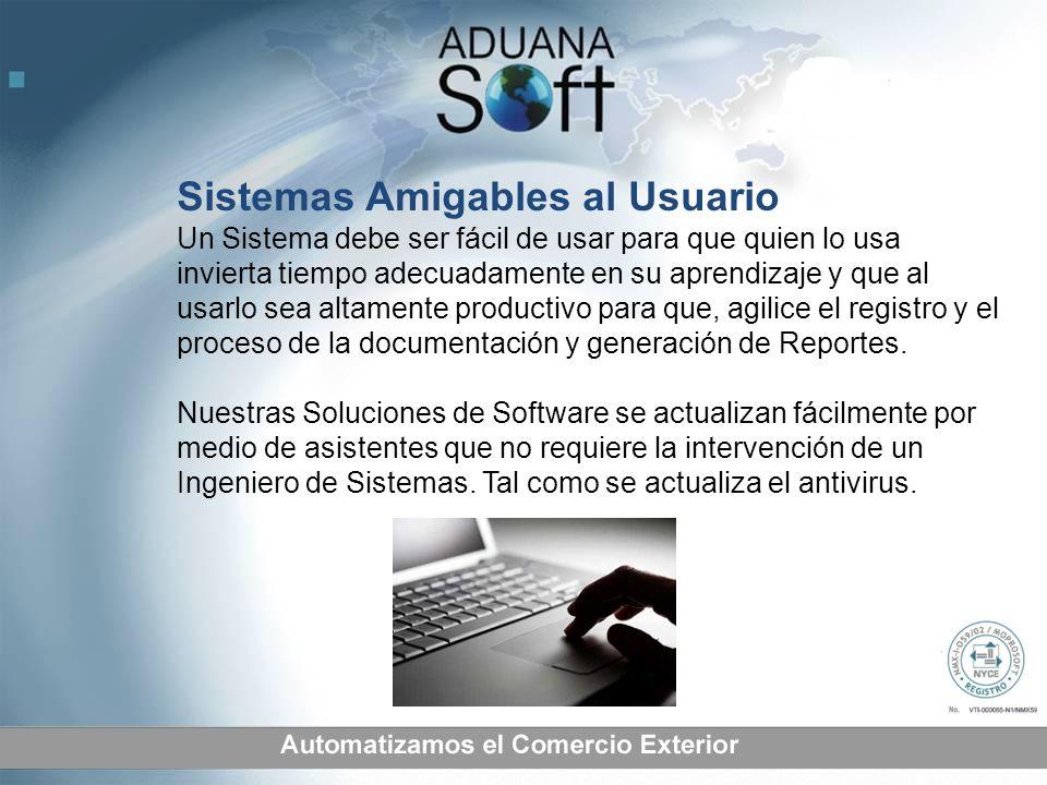 Sistemas Amigables al Usuario Un Sistema debe ser fácil de usar para que quien lo usa invierta tiempo adecuadamente en su aprendizaje y que al usarlo sea altamente productivo para que, agilice el registro y el proceso de la documentación y generación de Reportes.