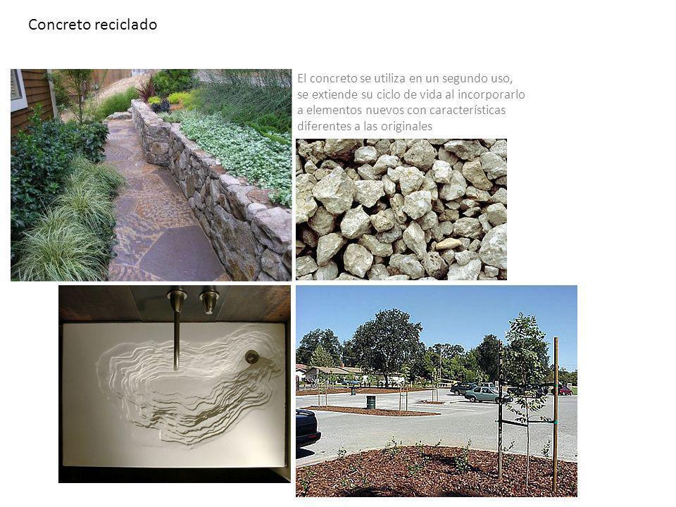 Concreto reciclado El concreto se utiliza en un segundo uso,