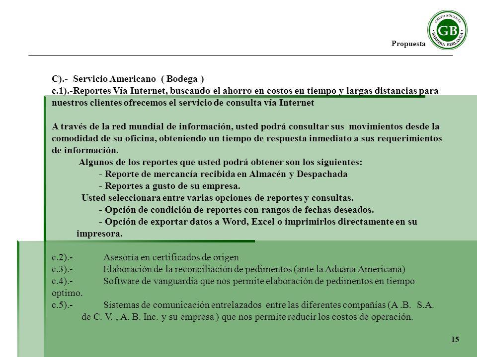 C).- Servicio Americano ( Bodega )
