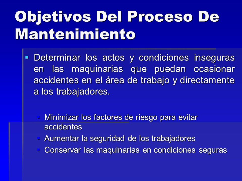 Objetivos Del Proceso De Mantenimiento