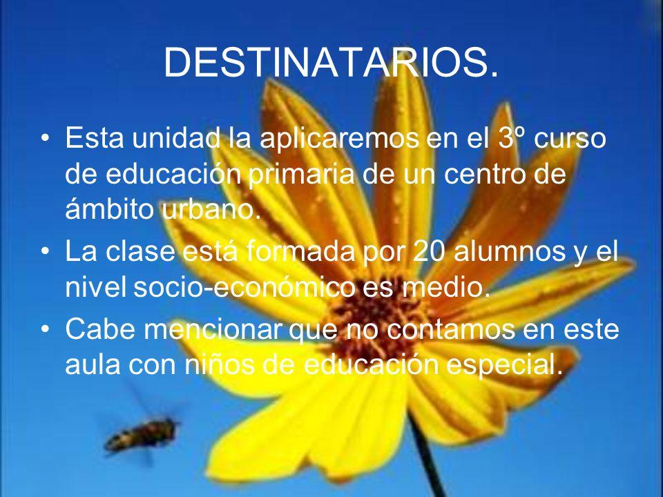 DESTINATARIOS. Esta unidad la aplicaremos en el 3º curso de educación primaria de un centro de ámbito urbano.
