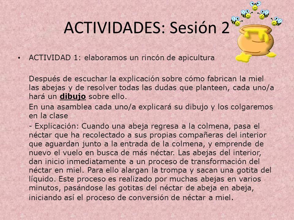 ACTIVIDADES: Sesión 2 ACTIVIDAD 1: elaboramos un rincón de apicultura
