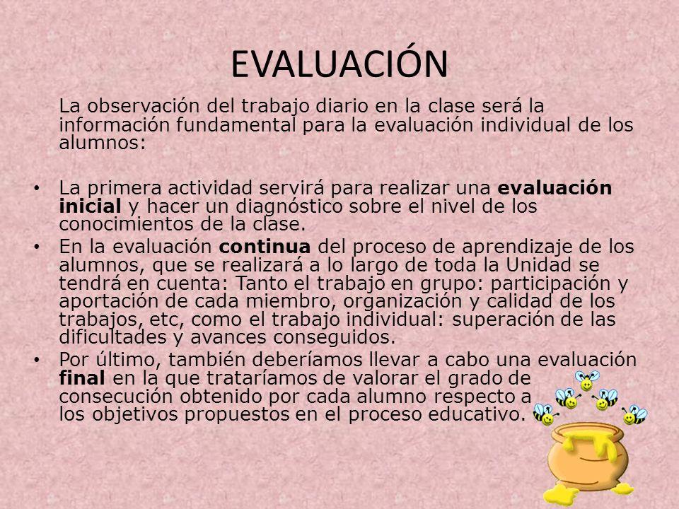 EVALUACIÓN La observación del trabajo diario en la clase será la información fundamental para la evaluación individual de los alumnos: