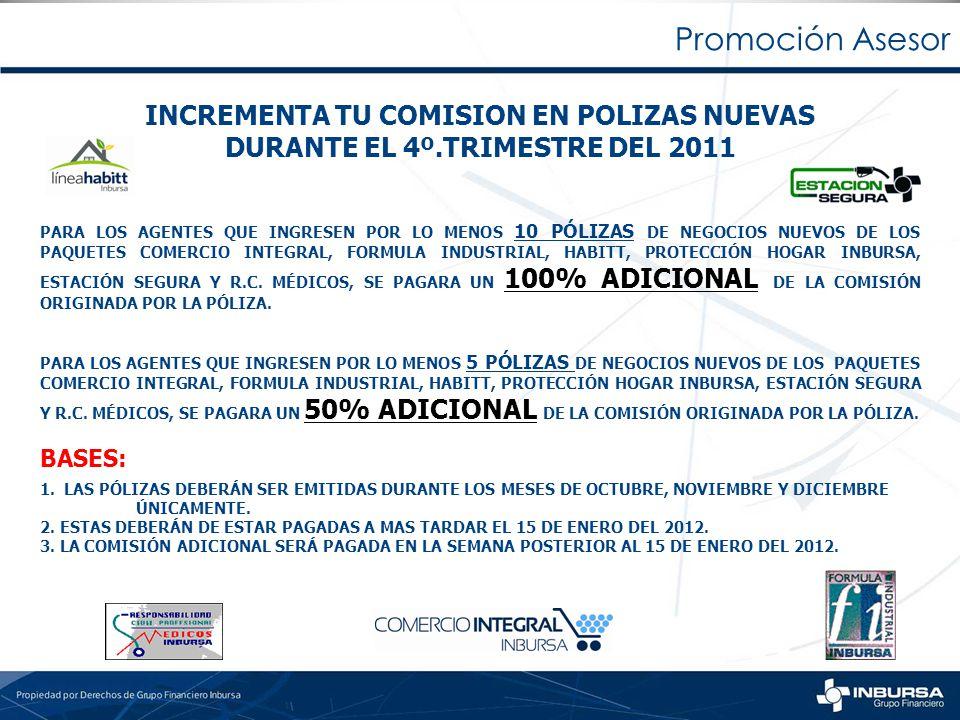 Promoción Asesor INCREMENTA TU COMISION EN POLIZAS NUEVAS