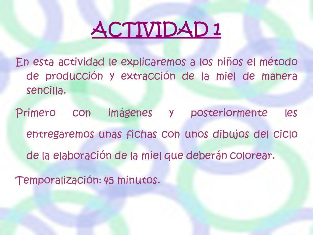 ACTIVIDAD 1En esta actividad le explicaremos a los niños el método de producción y extracción de la miel de manera sencilla.