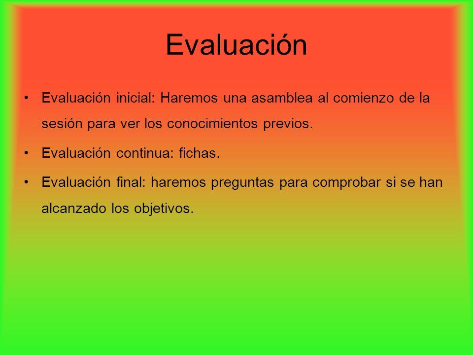 Evaluación Evaluación inicial: Haremos una asamblea al comienzo de la sesión para ver los conocimientos previos.