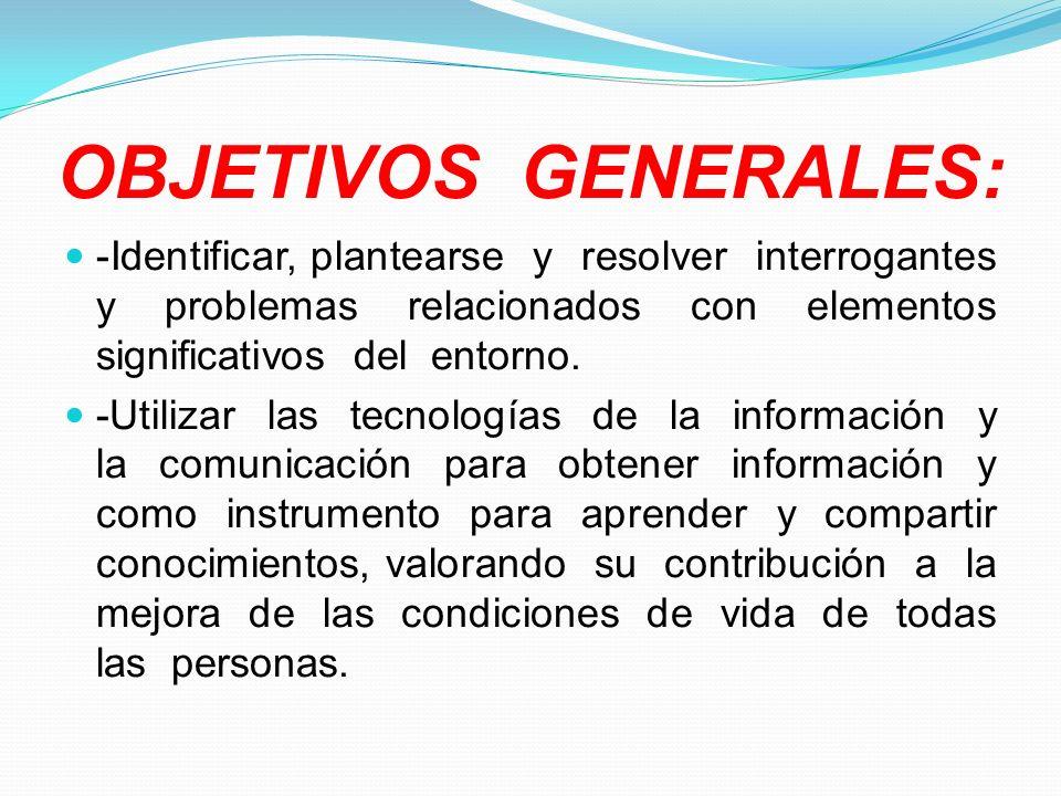 OBJETIVOS GENERALES:-Identificar, plantearse y resolver interrogantes y problemas relacionados con elementos significativos del entorno.