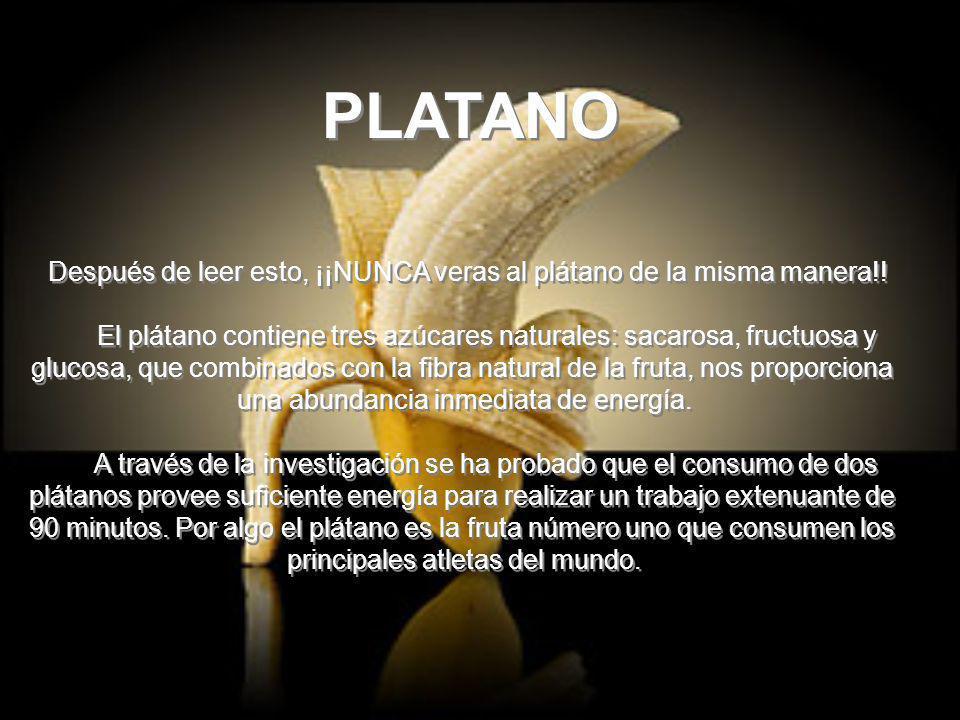PLATANO Después de leer esto, ¡¡NUNCA veras al plátano de la misma manera!.
