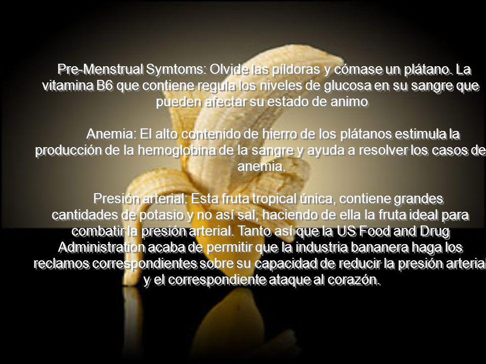 Pre-Menstrual Symtoms: Olvide las píldoras y cómase un plátano