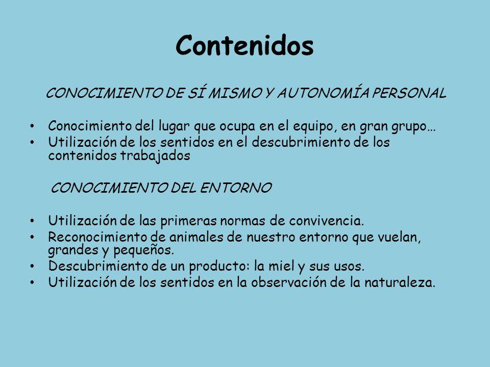 Contenidos CONOCIMIENTO DE SÍ MISMO Y AUTONOMÍA PERSONAL