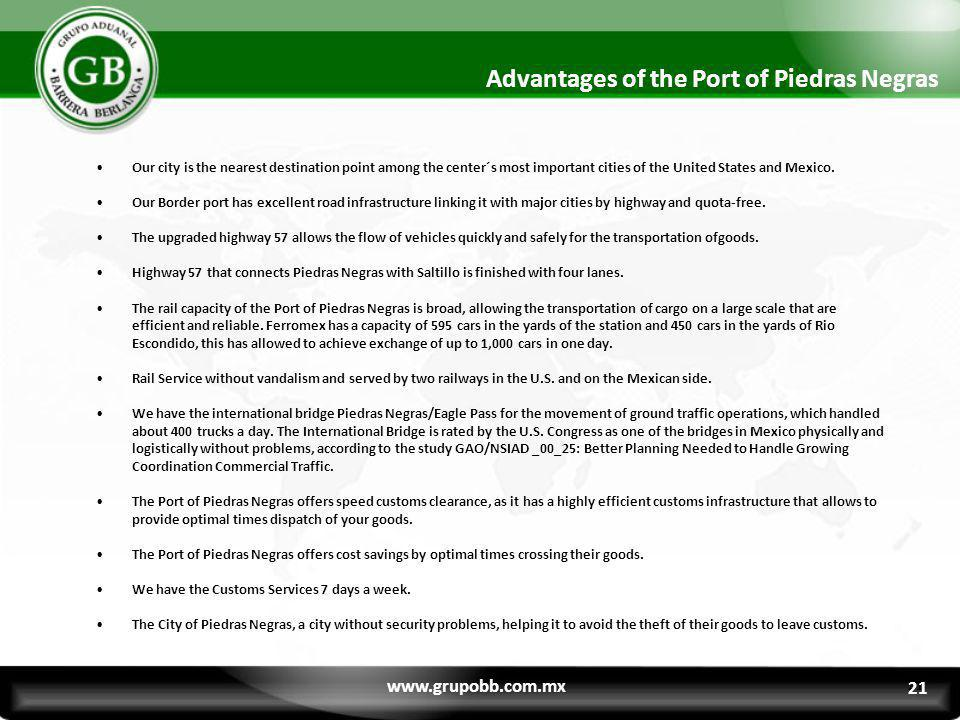 Advantages of the Port of Piedras Negras