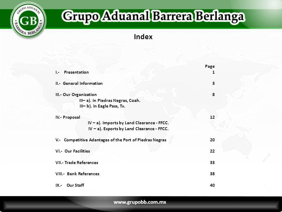 Index Index Page www.grupobb.com.mx I.- Presentation 1