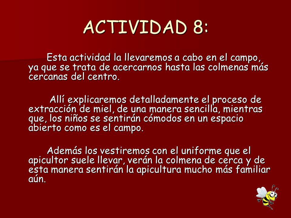 ACTIVIDAD 8: Esta actividad la llevaremos a cabo en el campo, ya que se trata de acercarnos hasta las colmenas más cercanas del centro.