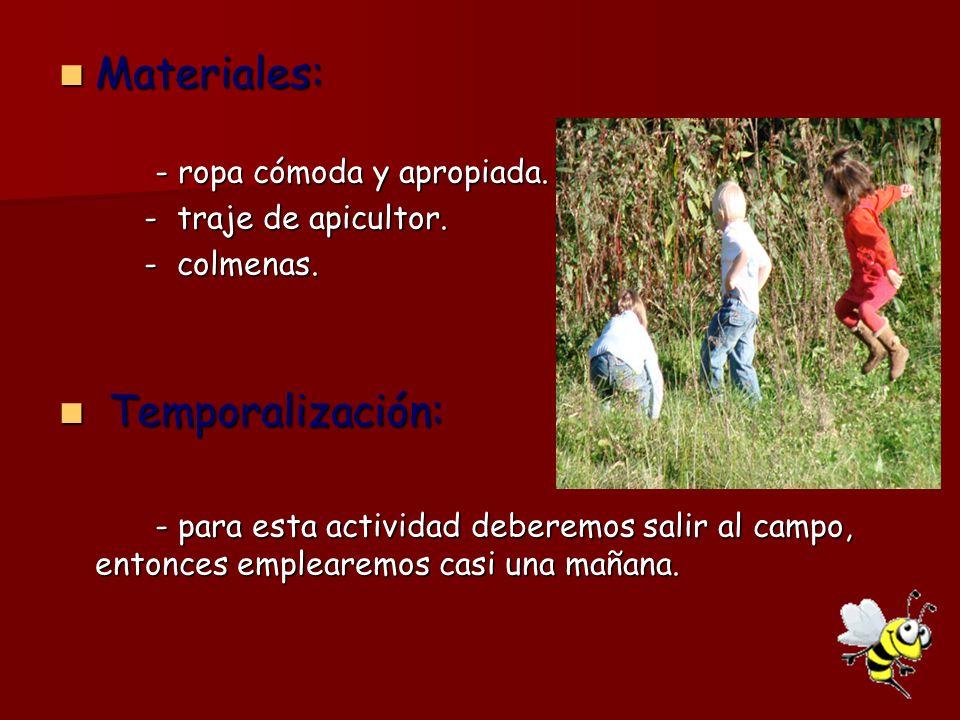 Materiales: Temporalización: - ropa cómoda y apropiada.