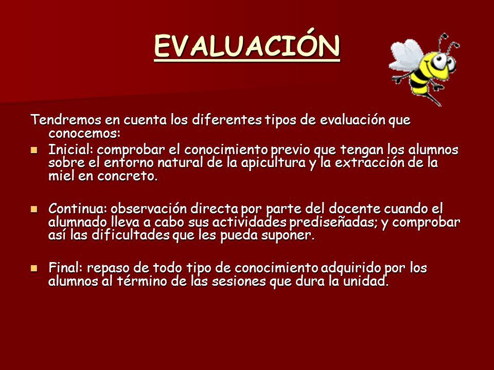 EVALUACIÓN Tendremos en cuenta los diferentes tipos de evaluación que conocemos: