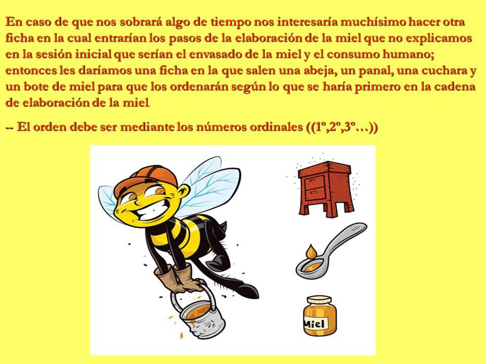 En caso de que nos sobrará algo de tiempo nos interesaría muchísimo hacer otra ficha en la cual entrarían los pasos de la elaboración de la miel que no explicamos en la sesión inicial que serían el envasado de la miel y el consumo humano; entonces les daríamos una ficha en la que salen una abeja, un panal, una cuchara y un bote de miel para que los ordenarán según lo que se haría primero en la cadena de elaboración de la miel.